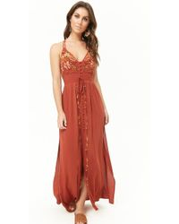 Forever 21 - Floral Embroidered Front-slit Maxi Dress - Lyst