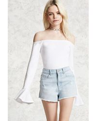 Forever 21 - Distressed Frayed Denim Shorts - Lyst