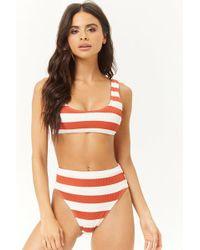 e724132da3 Forever 21 Striped Ruffle Wraparound Bikini Top in Red - Lyst