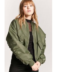 Forever 21 - Ruched-sleeve Bomber Jacket - Lyst