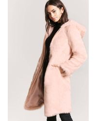 Forever 21 - Faux Fur Longline Coat - Lyst