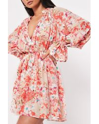 Missguided - Floral Mini Dress At - Lyst