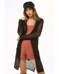 922efd7a73 Forever 21 - Longline Open-knit Cardigan - Lyst
