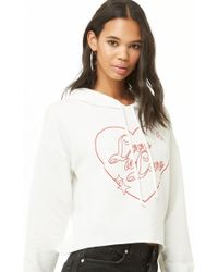 3890de1257 Lyst - Forever 21 Aspca Meow Graphic Hoodie in White