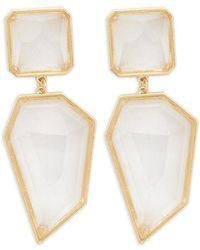 Forever 21 - Faux Gem Geo Drop Earrings , Gold/clear - Lyst