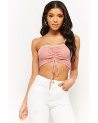 1fff24b322 Lyst - Forever 21 Women s Ruched Drawstring Tube Top in White
