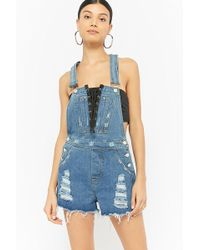 Forever 21 - Lace-up Distressed Denim Overall Shorts - Lyst