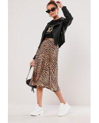 Missguided - Zebra Print Skirt At - Lyst