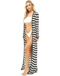 Forever 21 - Women's Striped Swim Cover-up Kimono - Lyst