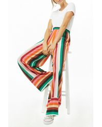 Forever 21 - Striped Crepe Wide-leg Pants - Lyst