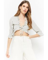Forever 21 - Polka Dot Ruffle Crop Top - Lyst