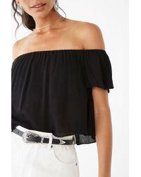 80579e1166a Forever 21 Velvet Off-the-shoulder Crop Top in Black - Lyst