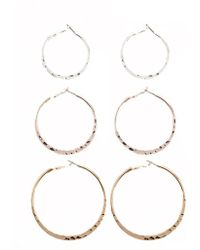 Forever 21 - Mixed Metal Hoop Earring Set - Lyst