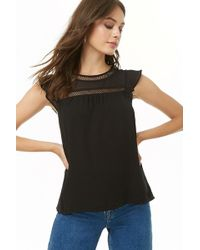 Forever 21 - Chiffon Lattice-trim Top - Lyst
