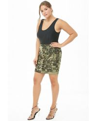 bd105837f Forever 21 - Women's Plus Size Camo Caged Buckle Skirt - Lyst