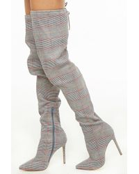 Forever 21 - Women's Glen Check Thigh-high Boots - Lyst