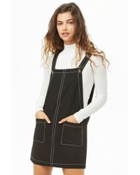 Forever 21 - Women's Contrast-stitch Pinafore Dress - Lyst