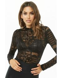 Forever 21 - Sheer Lace Bodysuit - Lyst