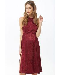 Forever 21 - Sheeny Floral & Striped Halter Dress - Lyst