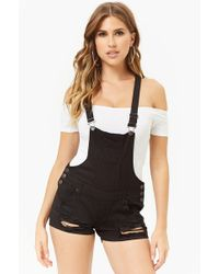 70f12b806f Forever 21 Plus Size Striped Overall Shorts in Black - Lyst