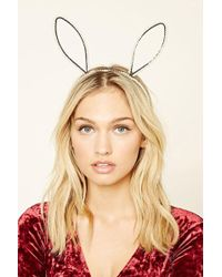 FOREVER21 - So Shadey Faux Pearl Bunny Ear Headband - Lyst