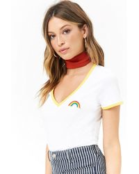 Forever 21 - Rainbow Patch Ringer Tee - Lyst