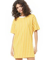 8d69cff09b9d7 Forever 21 Varsity Striped T-shirt Dress in Blue - Lyst
