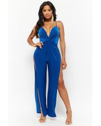 1ddce384d159 Forever 21 Cutout Pleated Jumpsuit in Green - Lyst