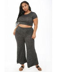 Forever 21 - Women's Plus Size Marled Crop Top & Trouser Set - Lyst