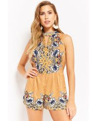 98a9888717b Forever 21 - Women s Floral V-cutout Playsuit - Lyst