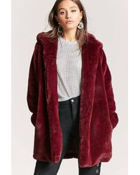 Forever 21 | Hooded Faux Fur Coat | Lyst