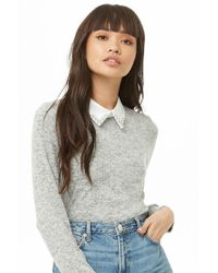Forever 21 - Collared Sweater-knit Top - Lyst