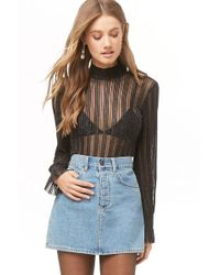 Forever 21 - Metallic Shadow-striped Top - Lyst