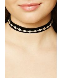 Forever 21 Women's Faux Gem Diamond Choker Necklace
