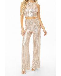 Forever 21 - Women's Striped Metallic Sequin Wide-leg Pants - Lyst