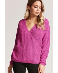 Forever 21 - Surplice Purl Knit Jumper - Lyst