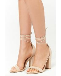 Forever 21 - Faux Suede Wraparound Heels - Lyst