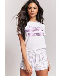 Forever 21 - Rainbows & Unicorns Graphic Pj Set - Lyst