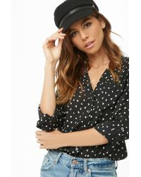 5e6269550f766 Lyst - Forever 21 Daisy Print Self-tie Shirt in Black