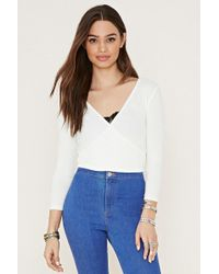 Forever 21 - Ribbed Surplice Crop Top - Lyst