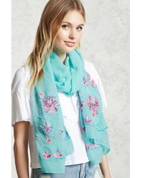 Forever 21 - Floral Embroidery Oblong Scarf - Lyst