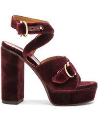 Chloé - Velvet Kingsley Sandals - Lyst