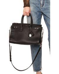 70ce791e6de2 Saint Laurent Baby Zipped Supple Sac De Jour Duffel Bag in Gray - Lyst
