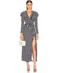 Jonathan Simkhai - Ruffled Striped Sandwashed Crepe Midi Dress - Lyst