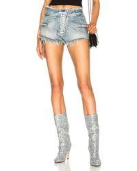 Unravel - Lace Front Denim Shorts - Lyst