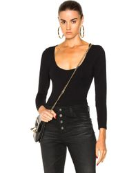 FRAME - Cut Out Long Sleeve Bodysuit In Noir - Lyst