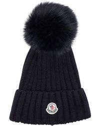 Moncler | Fur Pom Ribbed Beanie In Navy Blue | Lyst