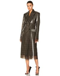 CALVIN KLEIN 205W39NYC - Glen Plaid Wool & Matte Polyurethane Film Trench Coat - Lyst