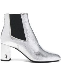 Saint Laurent - Cracked Metallic Leather Loulou Pin Boots - Lyst
