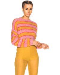 Alberta Ferretti - Striped Cropped Crewneck Sweater - Lyst